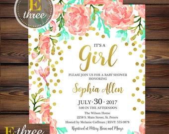 Gold Confetti Baby Shower Invitation - Girl Baby Shower Invitations - Coral, Mint & Gold Floral invite
