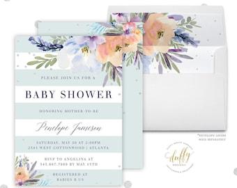 Baby Shower Invitation, Baby Shower Invite, Purple Baby Shower Invitation, Gender Neutral Baby Shower Invitation, Shower Invitation, 5x7