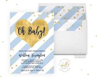 Baby Shower Invitation, Baby Shower Invitation Boy, Baby Shower Invite, Blue Baby Shower Invite, Baby Boy Shower Invitation Printable Invite