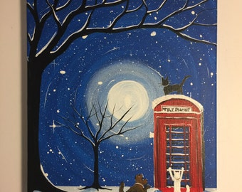Whats this No20  - 9 x 12 Cats an dog  next to a red phone Box, ready to hang, by Michael H. Prosper