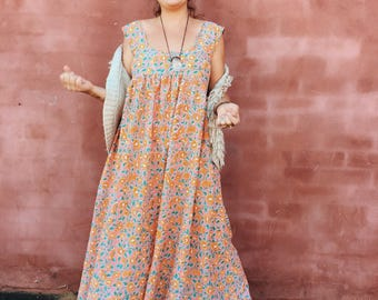 MADE TO ORDER crescent moon maxi in peachy cotton voil