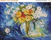 50% off Night Whisper 23x30 Original Oil Panting Flowers Palette Knife Bouquet Arrangement Blue Daisies Yellow Vase Home Decor Wall ART by M