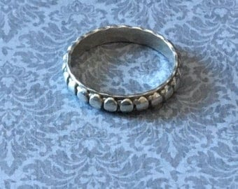 Sterling Silver Dotted Band Stacking Ring Size 7