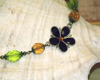 Purple Enameled Flower, Orange and Lime Glass Beads Necklace Bohemian Free Spirit Hippie Boho Indie Jewelry