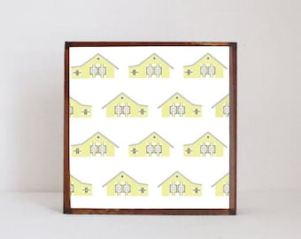farmhouse nursery art barn, gender neutral- baby decor- farmhouse barnyard - yellow nursery boho nursery  room art- redtilestudio