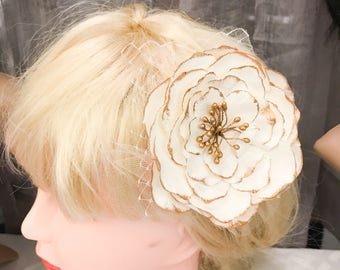 Bridal Hair Clip // White Paper Flower with Gold Accents