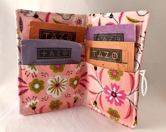 Tea Wallet - Pink Tea Bag Wallet Tea Bag Case Tea Bag Holder Pink Tea Holder Tea Bag Cozy  Tea Bag Organizer - Camelot Captivate Floral Pink
