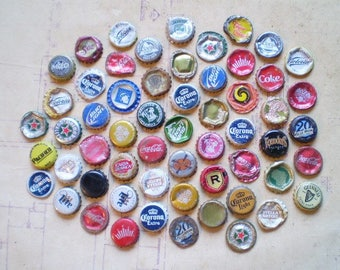 58 Salvaged Metal Bottle Caps - Found Objects for Assemblage, Altered Art or Mixed Media