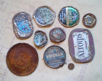 9 Rusty Metal Lids or Caps - Salvaged Supplies - Found Objects for Assemblage, Altered Art or Mixed Media