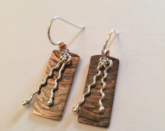 Copper and SS Wire Earrings - Serenity Earrings - Roller Mill Dangles
