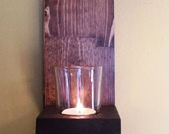 Wooden wall mounted tea light and candle holder sconce with glass and candle