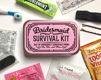 Bridesmaid Gift, Bridesmaid Survival Kit, Survival Kit Sticker, Bridsmaid Sticker, Wedding Day Survival Kit, Emergency Kit, UNFILLED