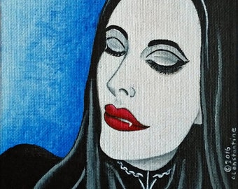 Vanessa the Vampire original acrylic painting urban home decor