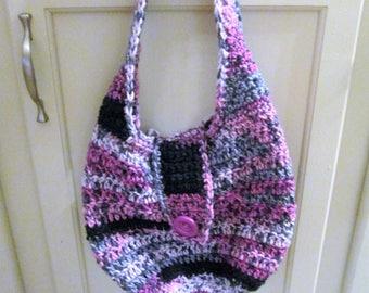 Crochet hobo purse, pinks, black and grays