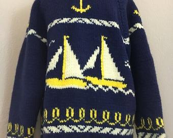 Vintage wool nautical Cowichan sweater sz Large zippered cardigan