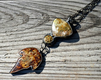 Long Necklace, Ceramic & Jasper Gemstone Necklace, Artisan Jewelry, Leaf Necklace, Hand Formed Jewelry, Leaf Pendant, Soldered Rings (2547)