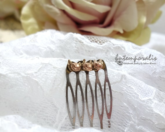 Bicolor flower bronze hair comb, OOAK, SABC04