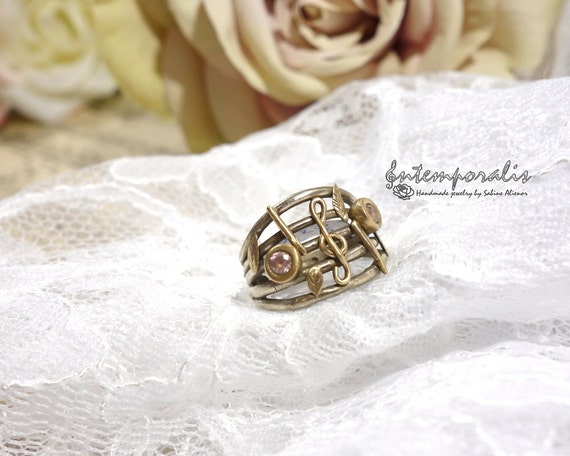 Bicolore score bronze ring with clear cubic zirconia, french size 52, OOAK, SABA20