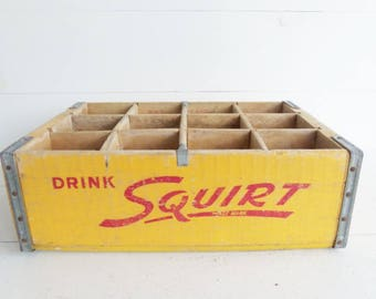 Vintage SQUIRT Wooden Soda Crate
