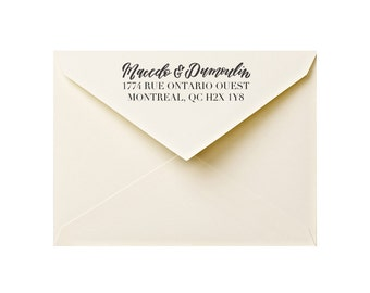 custom calligraphy address stamp: custom handlettered stamp, return address stamp, wedding address stamp, personal or family address stamp