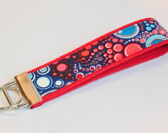 Key fob Keyfob fabric wristlet  Key chain fabric lanyard red and blue bubbles