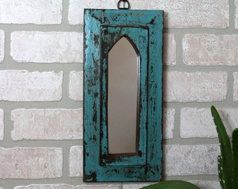 Moroccan Mirror Vintage Reclaimed Wood Mirror Wall Hanging Art Distressed Electric Blue Color Mirror Moroccan Decor Turkish