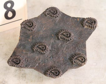 """Vintage Carved Wood Paisley Printing Block 7.5"""" x 5.5"""""""