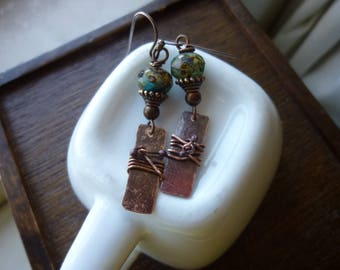 Picasso Czech Glass Beads and Double Ballpin Wrapped Rectangular Antique Copper Earrings, Rustic, Drop Earrings, Dangle, Bohemian