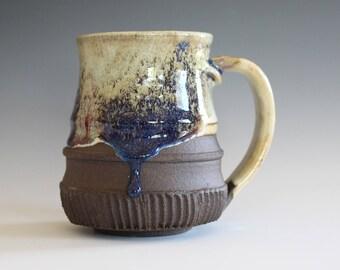 Pottery Mug, 15 oz, unique coffee mug, handmade ceramic cup, hand thrown mug, stoneware mug, wheel thrown pottery mug