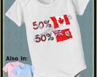 short sleeve and long sleeve 50 Canada 50 Bermuda baby infant  Bodysuit baby bodysuit, baby shower gift
