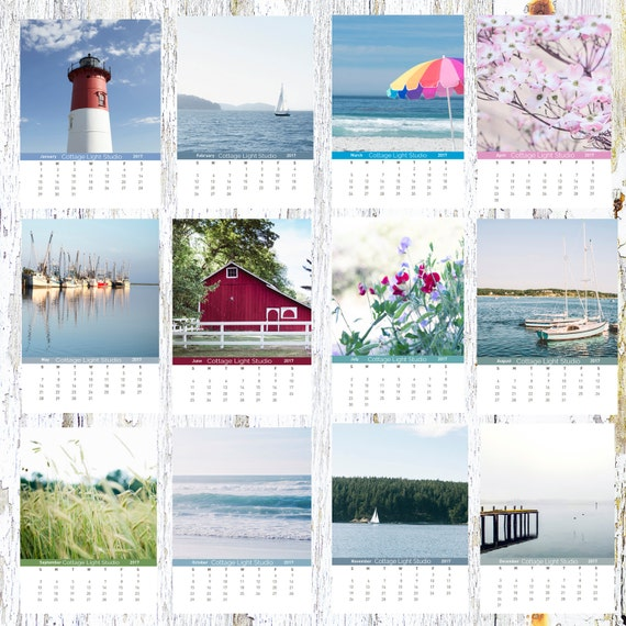 2017 Cottage Light Studio Calendar, Coastal and Countryside, Desk Calendar, Loose Leaf Calendar