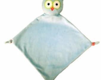 "Monogrammed 13"" Owl fleece micro fleece snuggle snugglie lovey square baby blanket -Fast Turnaround--Free Monogramming--"