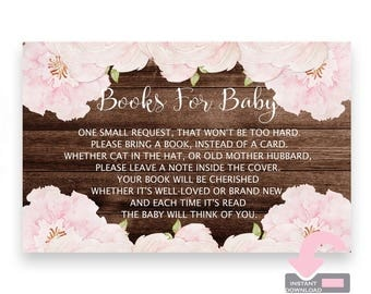 Rustic Book Request Card - Floral Book Request Card - Books For Baby Cards - Bring A Book Card - Bring A Book Insert - Baby Girl Shower
