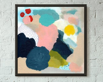 Don't Stop No. 6 of 9 // Modern Abstract Art Original 8x8 Mixed Media Acrylic Painting on Canvas Panel, Free US Shipping, Lisa Barbero