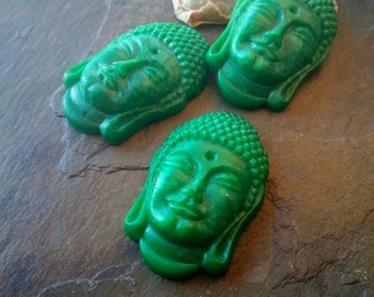 Buddha Cabochon, Vintage, German Made, Pressed Glass, 35x50mm, Circa 1960s, Jade Green, Priced per Piece