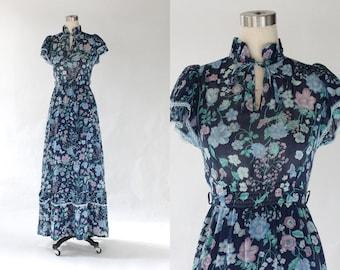 1970s Floral Maxi Dress // 70s Vintage Blue Flutter Sleeve Boho Prairie Dress // XS - Small