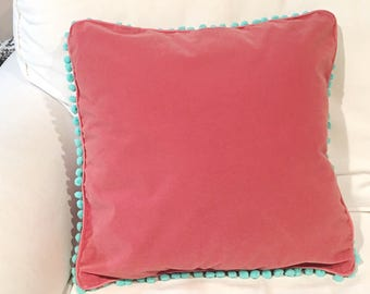 Rose Pink Velvet Pillow cover with Mint Green Pom  Pom Trim color options