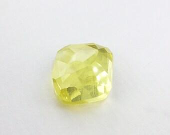 Lemon Quartz. Citrine Rose Cut Micro Facet Cabochon. Clean and Bright. Freeform. 1 pc. 14.02 cts. 15x17x9 mm (CT472)