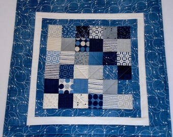 Quilted Table Topper in Blue Gray and Ivory, Quilted Table Runner, Patchwork Table Quilt with Stars, Milky Way, Astronomy Theme Table Quilt