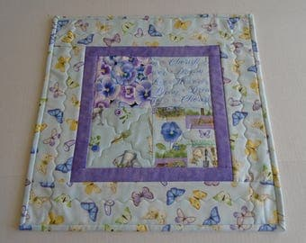 Butterflies Quilted Table Topper, Pansy Quilted Table Runner in Blue Lavender, Quilted Candle Mat, Butterfly Table Quilt, Quilted Table Mat