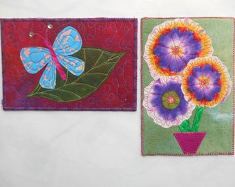 Pair of Quilted Art Postcards -- Garden Glories