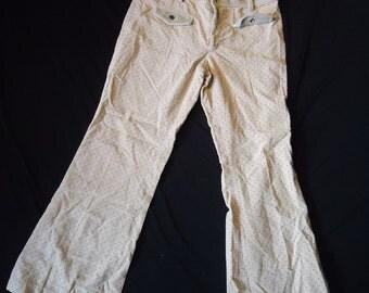Cream Corduroy Vintage 1970's Hippie Low Rise Women's Pants M L
