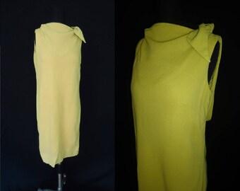 Sleeveless Lime Green Cowl Neck Vintage 1960's Women's SHIFT Summer Dress M