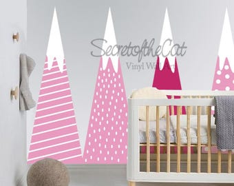 Mountain decal - Wall decal - Mountains- Children Wall decal - Nursery decal -  Nursery wall decal - pink decal