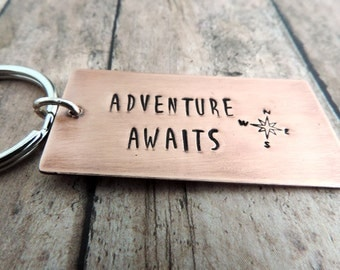Adventure Awaits Key Ring - Travel Gift for Men and Women - Stamped Copper Metal - Copper Keychain