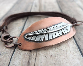 Silver Feather on Copper Bracelet - Rustic Brown Leather Bracelet - Mixed Metal Jewelry - Tribal Boho Jewelry