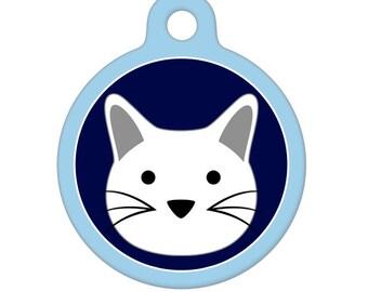 Pet ID Tag - White Kitty Cat Pet Tag, Dog Tag, Cat Tag