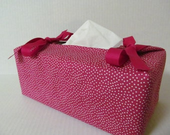 Tissue Box Cover/White Pin Dots On Hot Pink