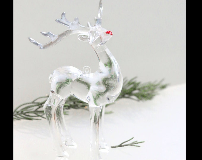 Classic Christmas Deer Ornament, Rudolph The Reindeer, Mule Deer Moose Antler Holiday Hanging decor, Miniature Glass Animals, Clear Acrylic