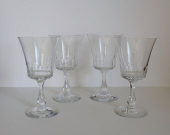 Vintage Fostoria Glass Georgian Water Goblets Set of Four